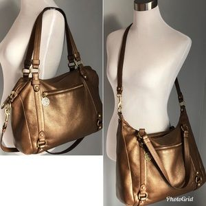 Coach Alexandra Bronze Convertible Leather Handbag